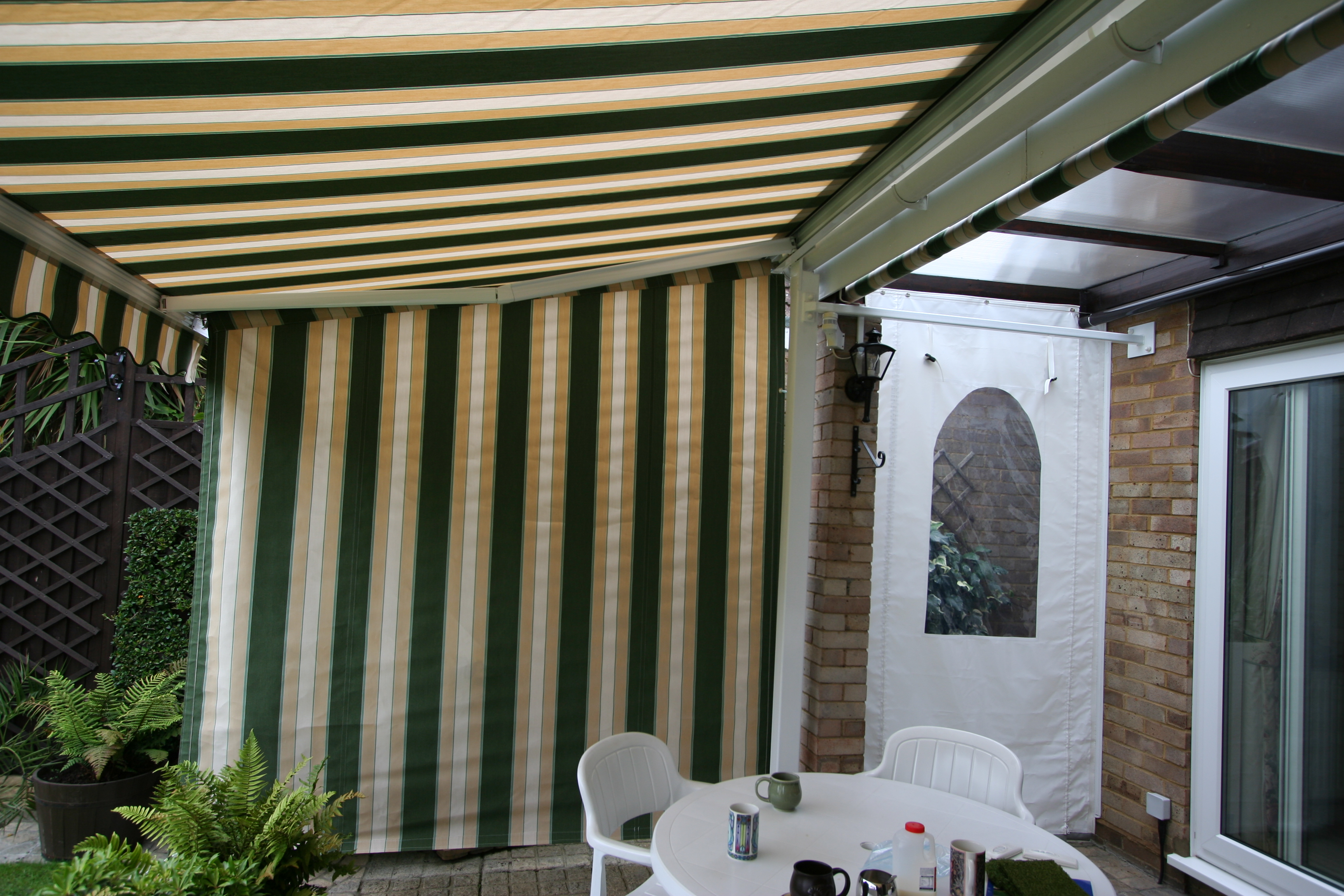 Patio Awning With Side Curtain