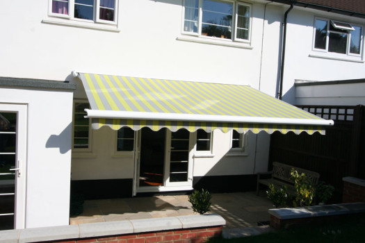 Markilux 990 Awning Grren & Yellow Stripes