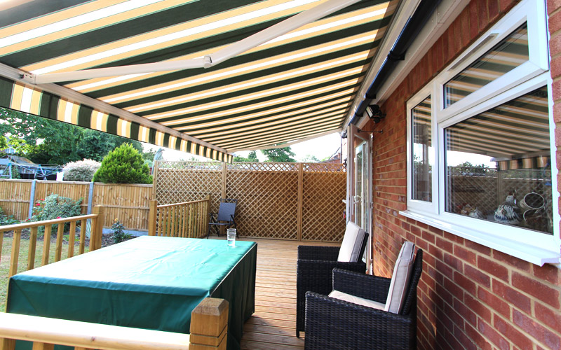 Patio awning over decking area