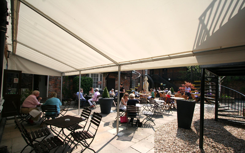 Outdoor eating area awnings for Bear Hotel